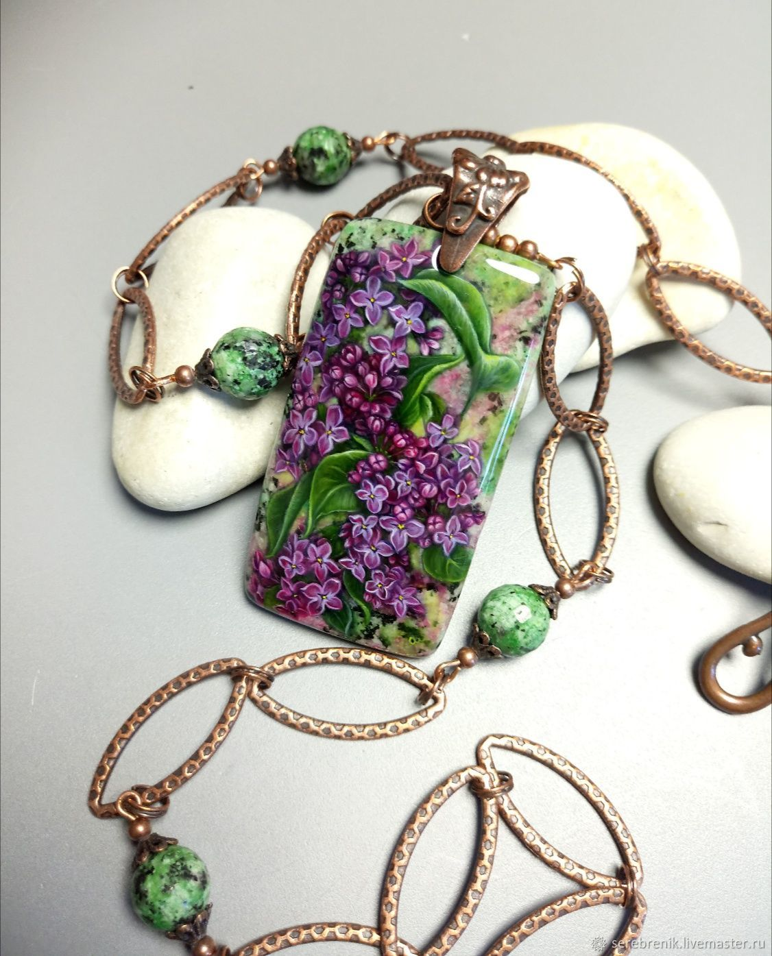 Pendant on a chain-may lilac-miniature painting on stone, Pendant, Moscow,  Фото №1
