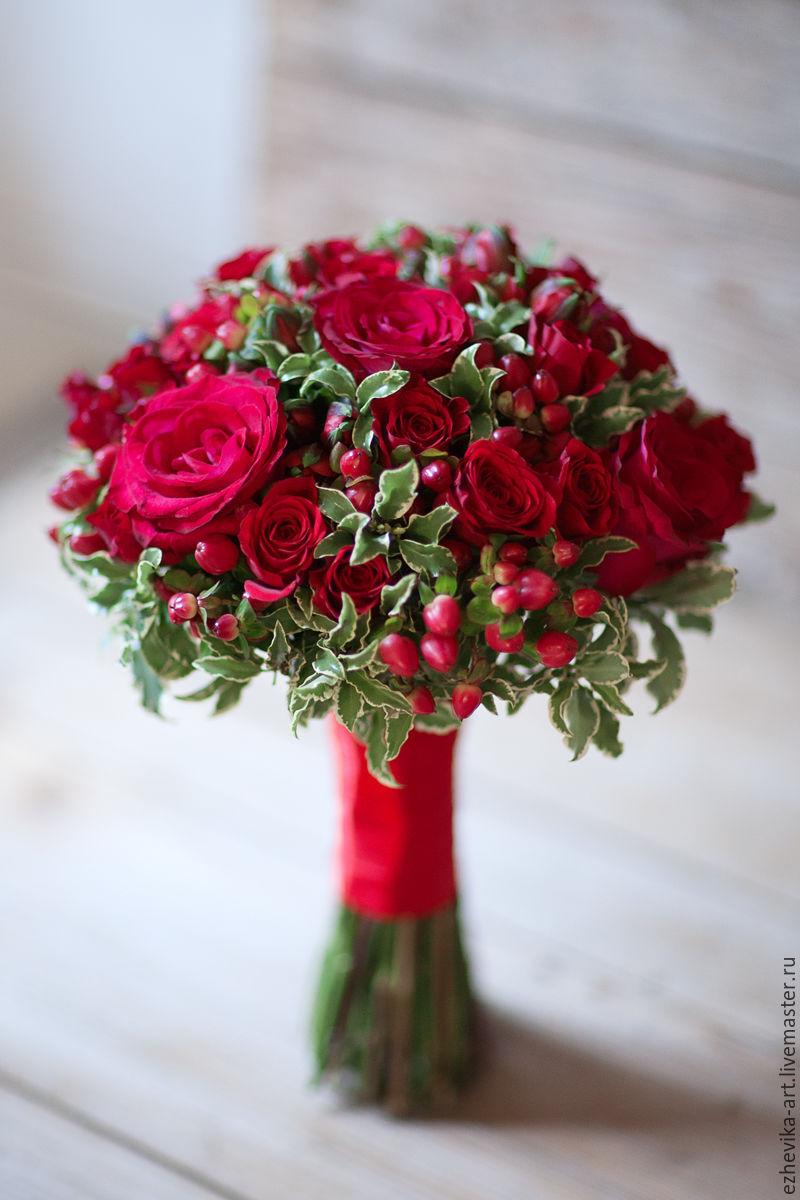 Свадебные букеты красные фото
