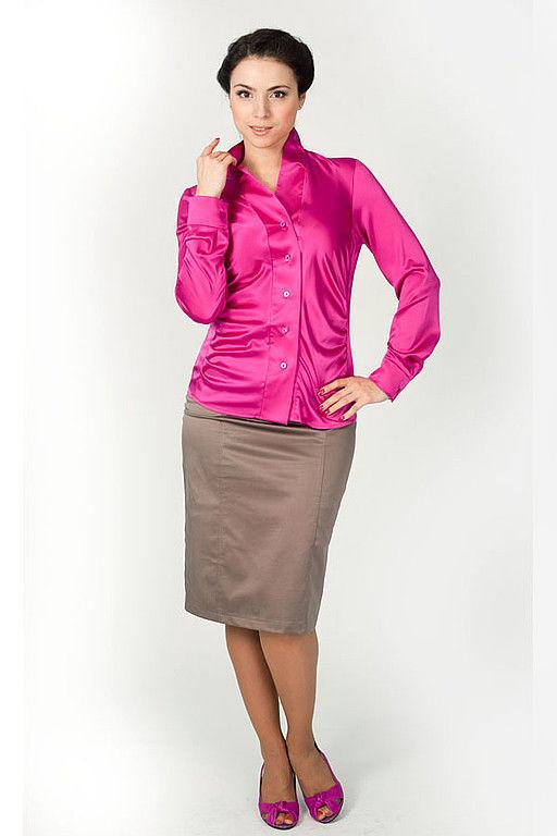 Блузки ручной работы. Ярмарка Мастеров - ручная работа. Купить Блузка с защипами - Фуксия. Handmade. Блузка, яркая блузка, эластан