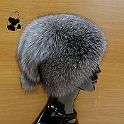 Аксессуары handmade. Livemaster - original item Hat fur women`s Fox fur Blue frost. DF-54. Handmade.