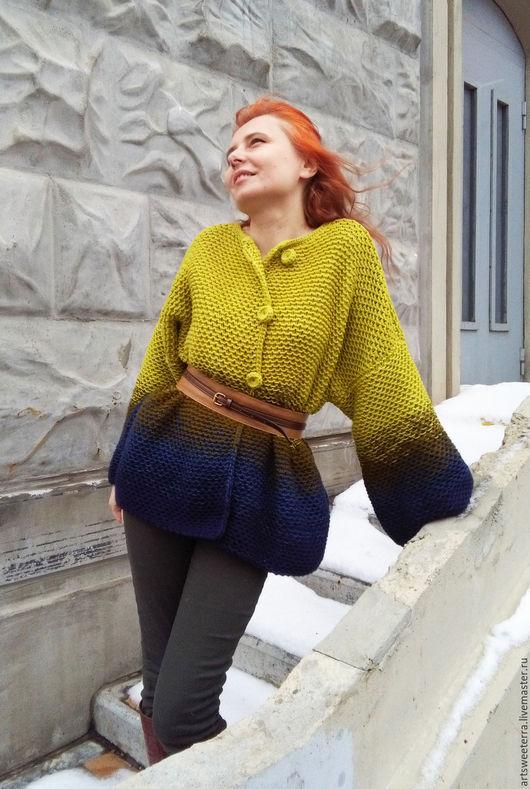 Кофты и свитера ручной работы. Ярмарка Мастеров - ручная работа. Купить Вязаный короткий кардиган 4 сине-зеленый. Handmade.