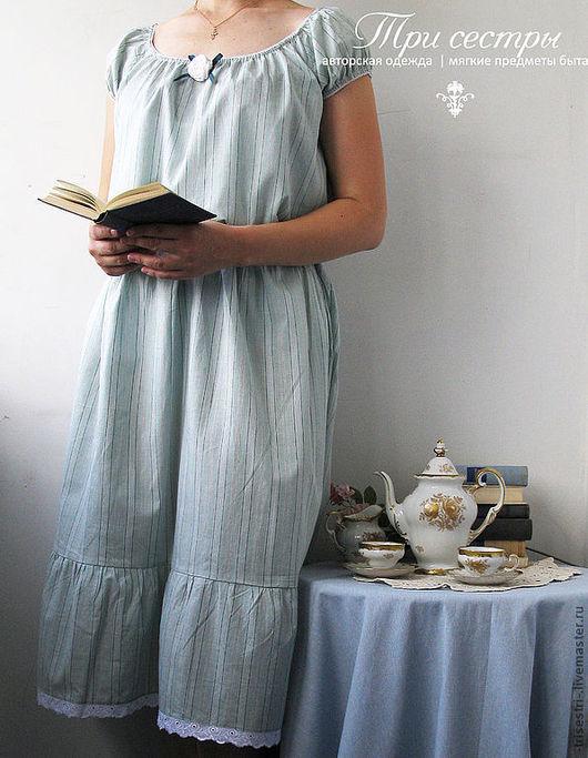 """Платья ручной работы. Ярмарка Мастеров - ручная работа. Купить Платье """"Чайное"""" мята в полоску. Handmade. В полоску"""