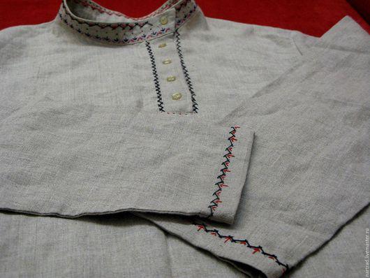 Одежда ручной работы. Ярмарка Мастеров - ручная работа. Купить Косоворотка небелёный лён. Handmade. Серый, народная рубаха