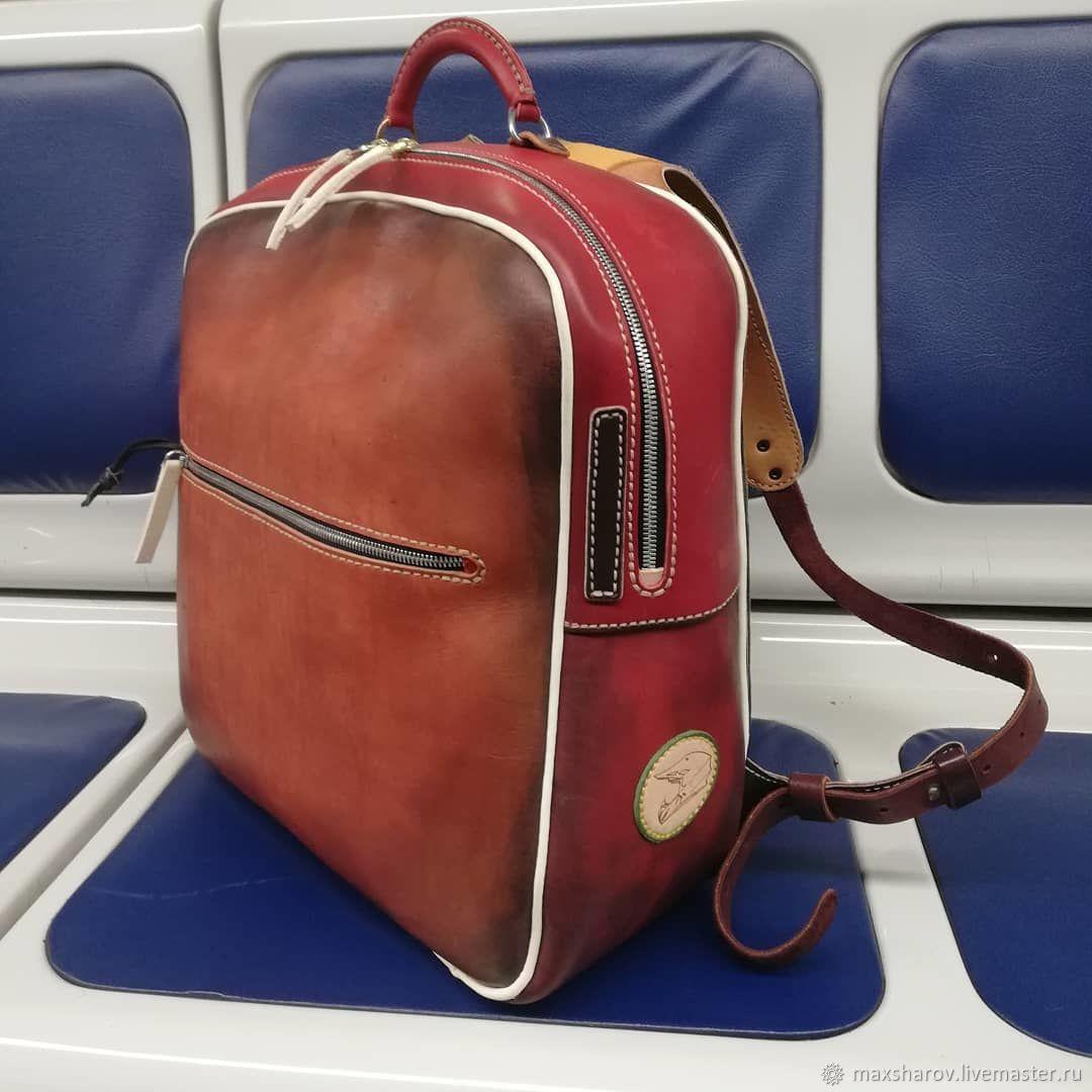 Backpack leather handmade burgundy multicolor art BMX, Backpacks, Moscow,  Фото №1