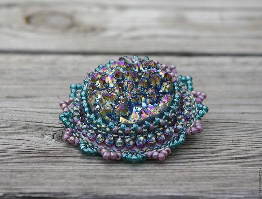 """Броши ручной работы. Ярмарка Мастеров - ручная работа. Купить Брошь """"Северный цветок"""". Handmade. Тёмно-бирюзовый, кристаллы кварца"""