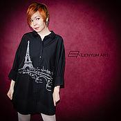 """Одежда ручной работы. Ярмарка Мастеров - ручная работа Рубашка """"Париж"""" черная. Handmade."""