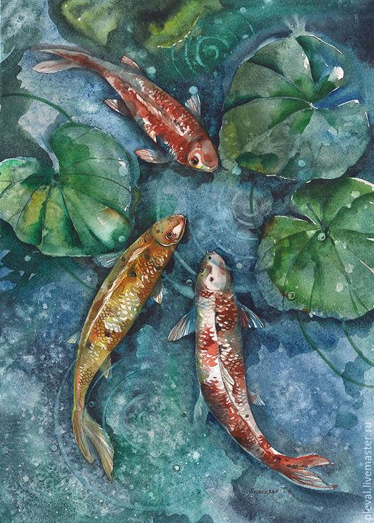 Животные ручной работы. Ярмарка Мастеров - ручная работа. Купить Картина акварелью с рыбами Три карпа кои. Handmade. Синий