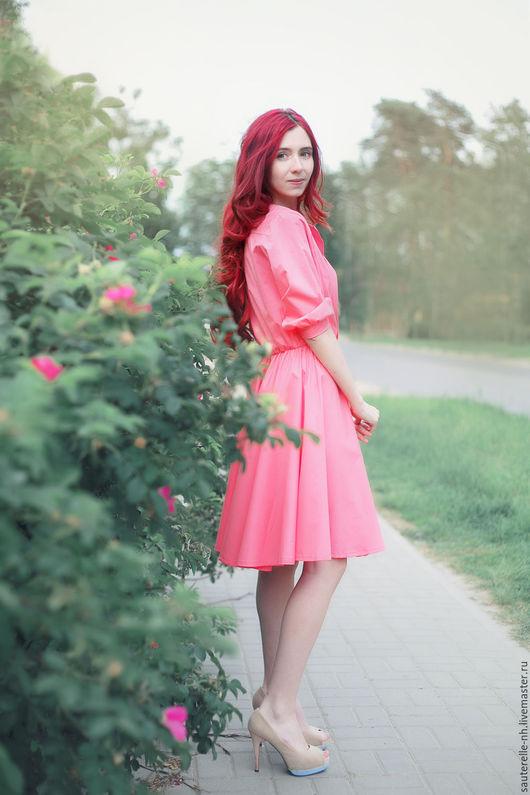 Платья ручной работы. Ярмарка Мастеров - ручная работа. Купить Платье Rose. Handmade. Розовый, розы, яркое платье
