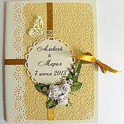 Свадебный салон ручной работы. Ярмарка Мастеров - ручная работа Папка для свидетельства о браке в золотистой гамме. Handmade.