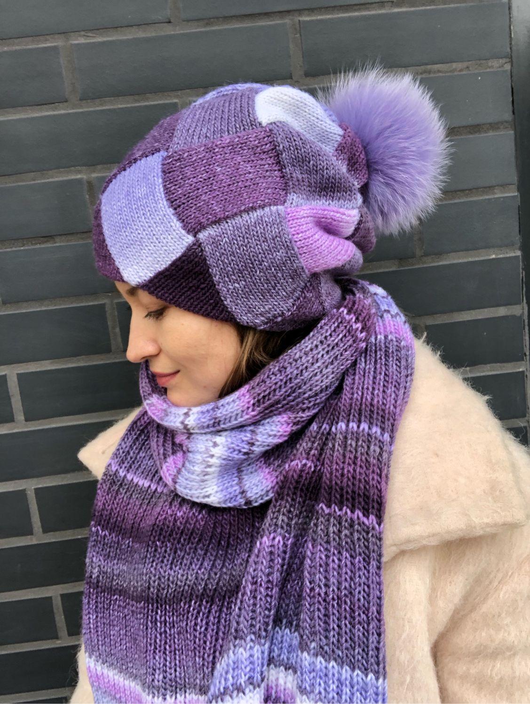 Hat and scarf set Violet/Lilac, Headwear Sets, Krasnodar,  Фото №1