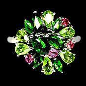 """Украшения ручной работы. Ярмарка Мастеров - ручная работа Кольцо хромдиопсид хризолит розовые сапфиры  """"Антик"""". Handmade."""