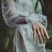 Одежда ручной работы. Ярмарка Мастеров - ручная работа Рубашка из хлопка с металлизированной нитью и фатина. Handmade.