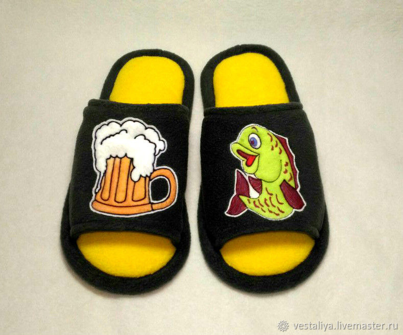 Men's Slippers with applique for every taste, Slippers, Novosibirsk,  Фото №1