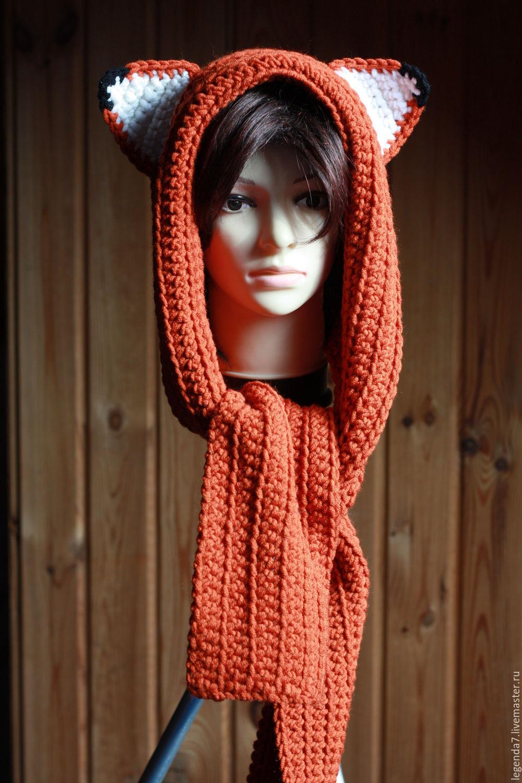 Вязание шарф капюшон с ушками