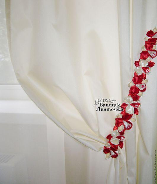 """Текстиль, ковры ручной работы. Ярмарка Мастеров - ручная работа. Купить Подхваты для штор """"Орхидеи"""". Handmade. Ярко-красный, подхваты"""