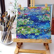 Картины и панно handmade. Livemaster - original item Painting Pond with water lilies impasto oil on canvas. Handmade.