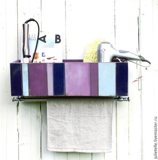 Ванная комната ручной работы. Ярмарка Мастеров - ручная работа. Купить Органайзер для банных принадлежностей. Handmade. Тёмно-фиолетовый, полотенцесушитель