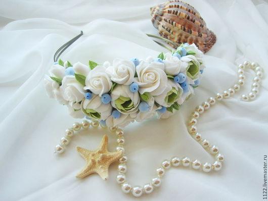 """Диадемы, обручи ручной работы. Ярмарка Мастеров - ручная работа. Купить Ободок """"Морской бриз"""". Handmade. Голубой, розы, ранункулюс"""