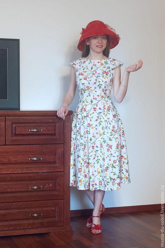 """Платья ручной работы. Ярмарка Мастеров - ручная работа. Купить Летнее платье """"Melanie"""". Handmade. Белый, стиль 50-х"""