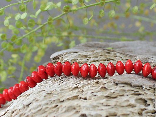 Бусины коралл красный диск, по 5 шт Бусины в форме диска, диаметром 6 мм, толщиной 4 мм, из тонированного в красный цвет натурального коралла для сборки украшений