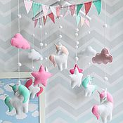 Работы для детей, handmade. Livemaster - original item Mobile in a crib made of felt - Pink land of unicorns). Handmade.