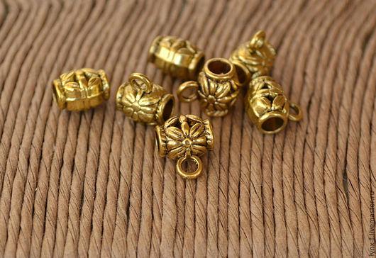 Для украшений ручной работы. Ярмарка Мастеров - ручная работа. Купить 5шт Держатель для кулона (бейл) Цветок 9мм ант.золото. Handmade.