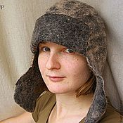 Одежда ручной работы. Ярмарка Мастеров - ручная работа Войлочна шапка-ушанка мужская. Handmade.