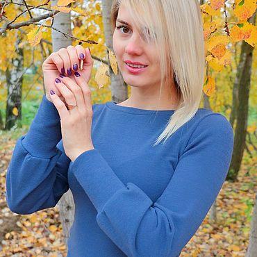 Одежда ручной работы. Ярмарка Мастеров - ручная работа Тёплая блузка с интересными рукавами Синяя Дымка. Handmade.