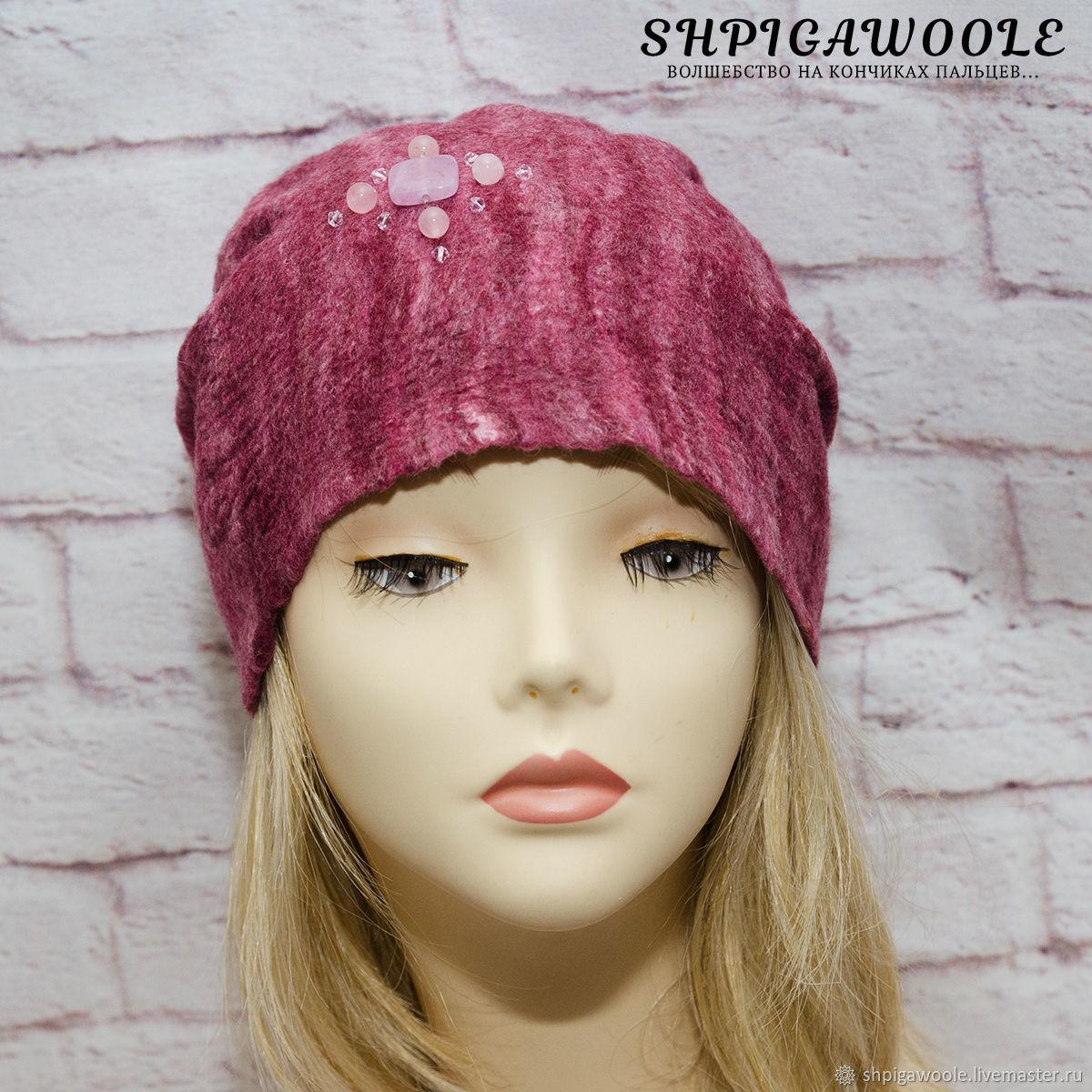 Валяная шапка бини из коллекции Natural Stones `Rose quartz`