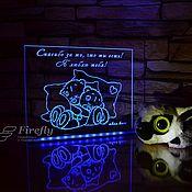 Подушки ручной работы. Ярмарка Мастеров - ручная работа Мишки Тедди на подушках - Сувенир с подсветкой. Handmade.