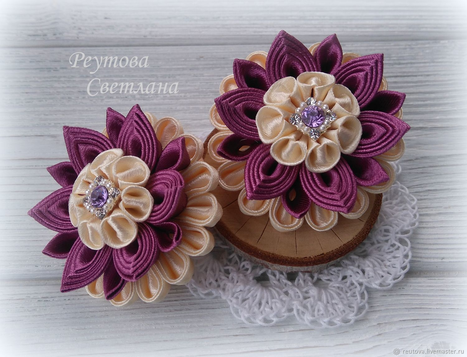 Hair bands Purple mood in kanzashi technique, Clips, Chernogolovka, Фото №1