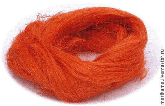Валяние ручной работы. Ярмарка Мастеров - ручная работа. Купить Лен, цвет оранжевый. Handmade. Декоративные волокна, волокна для валяния