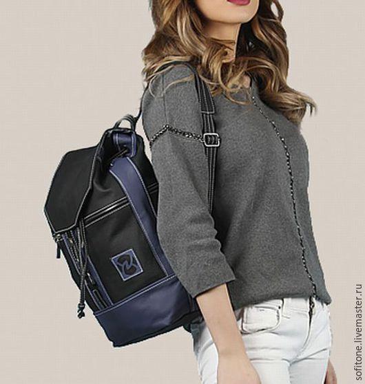 Рюкзаки ручной работы. Ярмарка Мастеров - ручная работа. Купить Рюкзак городской Черный с синим. Handmade. Школьный рюкзак