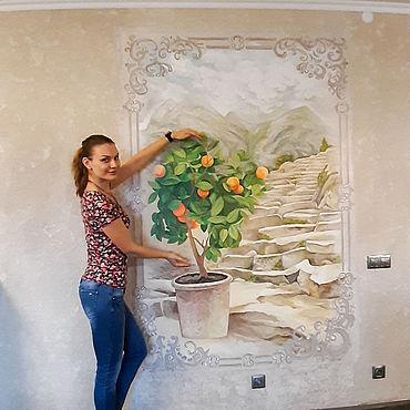 Дизайн и реклама ручной работы. Ярмарка Мастеров - ручная работа Декор: Роспись стены Фреска Мандариновое дерево. Handmade.