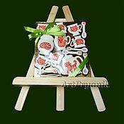 """Сувениры и подарки ручной работы. Ярмарка Мастеров - ручная работа Пряничный чайный сервиз """"Рыжие коты"""" (набор из 15 мини-пряничков). Handmade."""