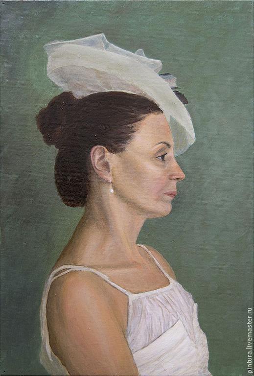 Люди, ручной работы. Ярмарка Мастеров - ручная работа. Купить Портрет дамы. Handmade. Тёмно-зелёный, дама, белое платье