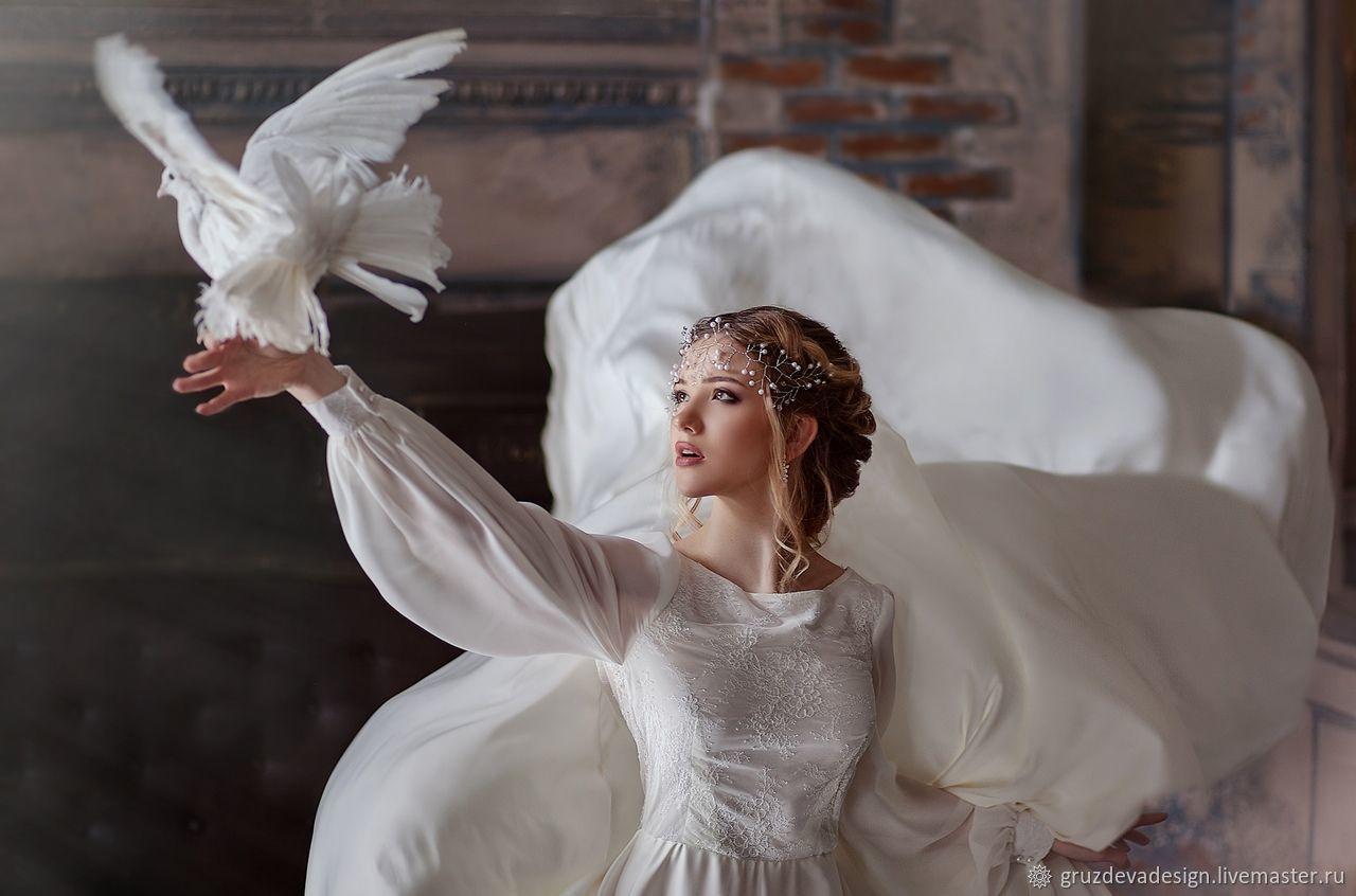 Платья ручной работы. Ярмарка Мастеров - ручная работа. Купить Свадебное платье -пеньюар со шлейфом. Handmade. Нежность, пеньюар