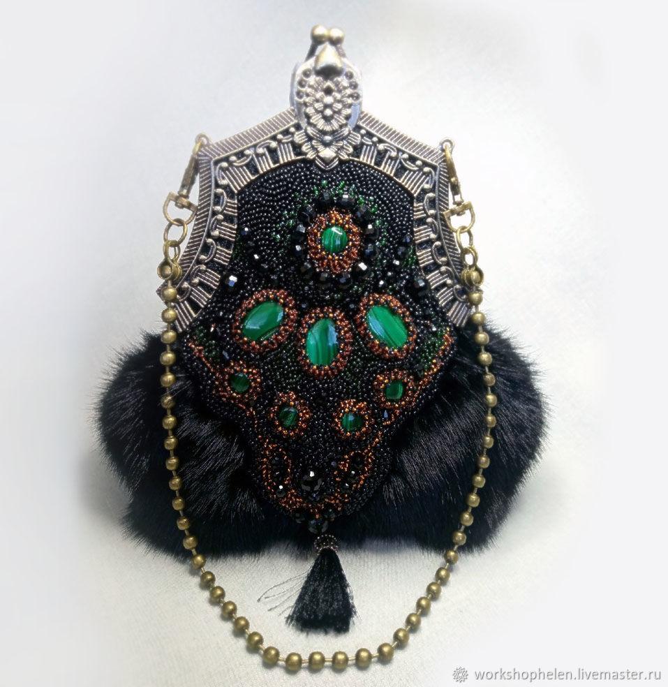 Handbag made of mink with malachite, Clasp Bag, Volgorechensk,  Фото №1