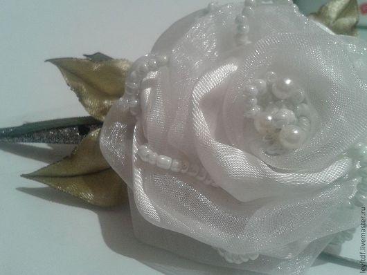 Заколки ручной работы. Ярмарка Мастеров - ручная работа. Купить роза. Handmade. Белый, роза, цветок, ленты, капроновая лента
