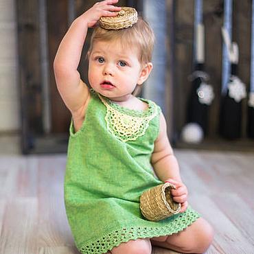 """Работы для детей, ручной работы. Ярмарка Мастеров - ручная работа Платье для девочки  1 - 2 года """"Травушка"""". Handmade."""