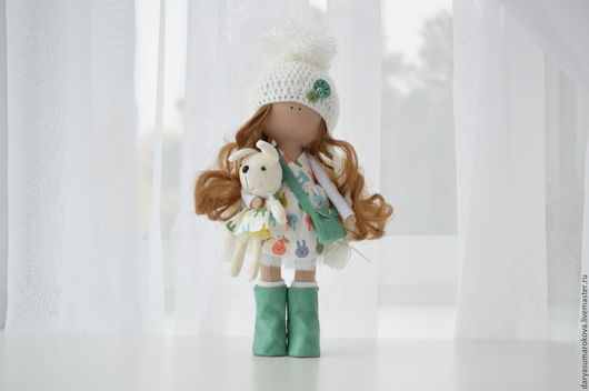 Коллекционные куклы ручной работы. Ярмарка Мастеров - ручная работа. Купить Интерьерная кукла. Handmade. Зеленый, куклы и игрушки