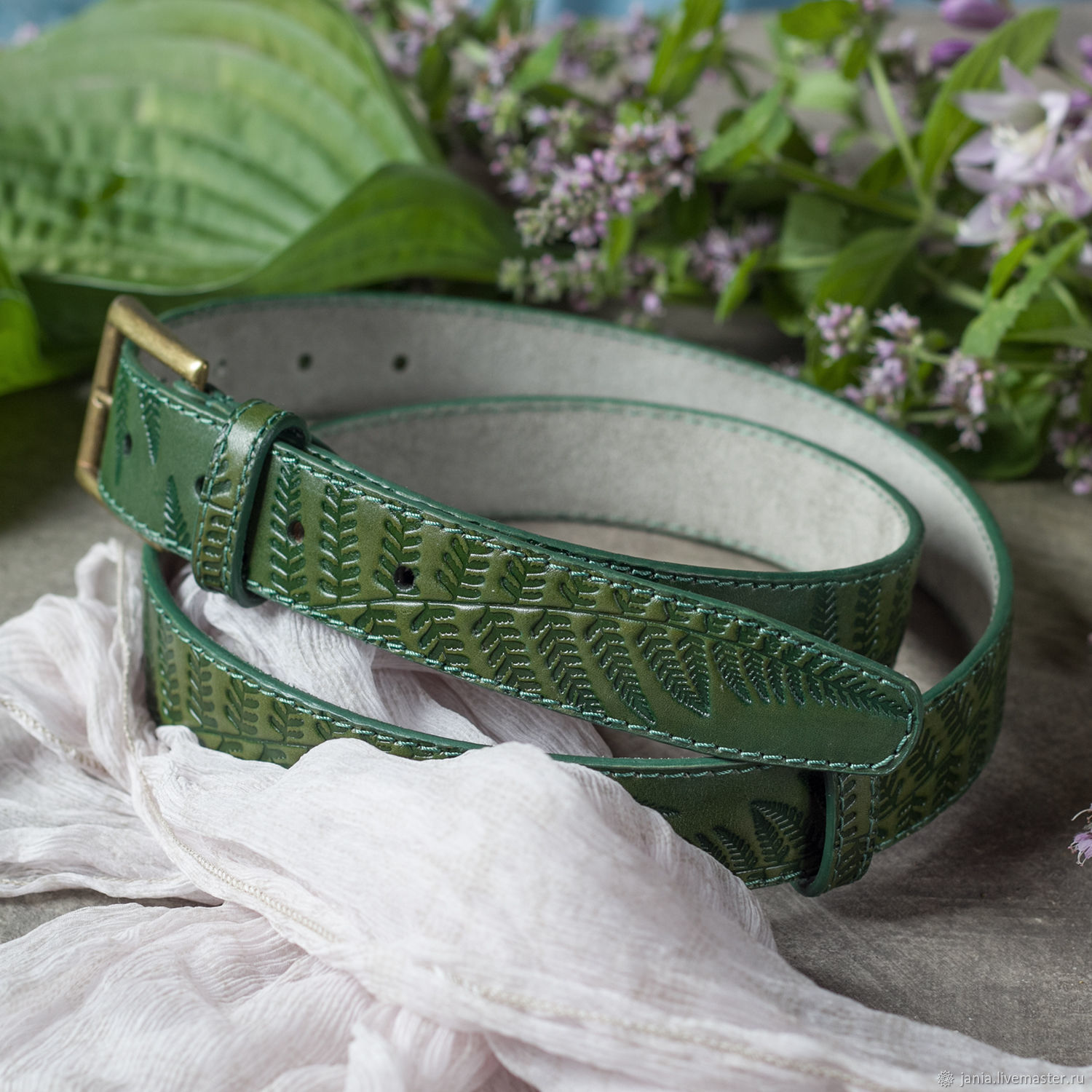Green leather Belt for Women 1.2 inches wide, Straps, Ivanovo,  Фото №1