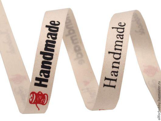 """Открытки и скрапбукинг ручной работы. Ярмарка Мастеров - ручная работа. Купить Лента хлопковая 10мм  """"hand made"""". Handmade. Голубой"""