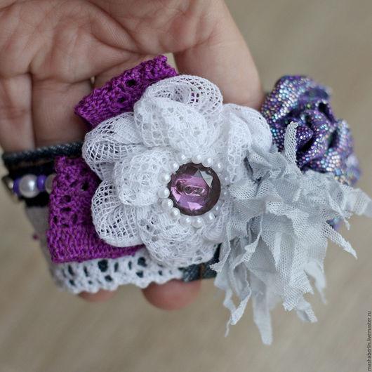 Браслеты ручной работы. Ярмарка Мастеров - ручная работа. Купить Фиолетовый браслет. Handmade. Фиолетовый, бусины, лента