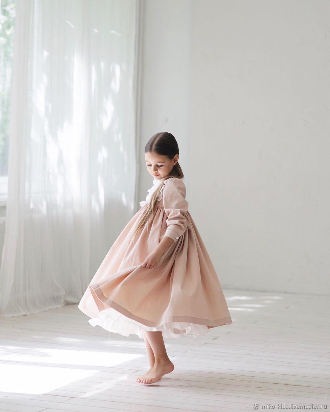 Хлопковое платье с кокеткой, длинный рукав, Платья, Екатеринбург,  Фото №1