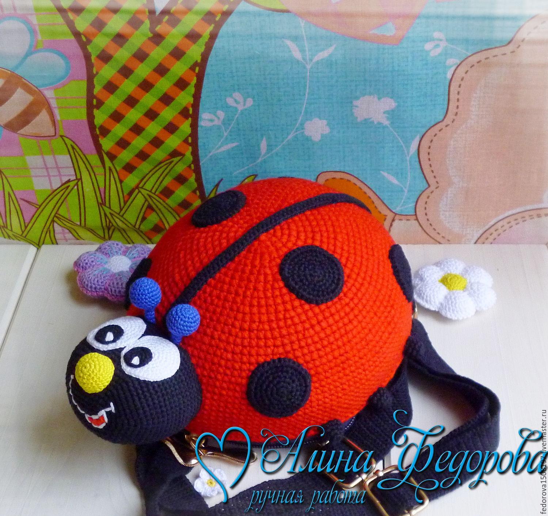Рюкзак крючком детский божья коровка рюкзак сумка панда