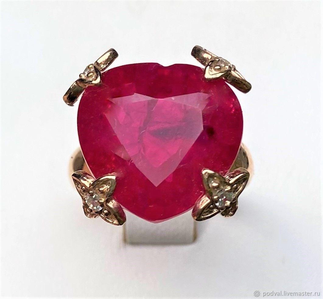 """Кольцо серебряное с рубином BLOOD RED """"Большое сердце""""(18), Кольца, Королев,  Фото №1"""