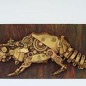 """Дизайн и реклама ручной работы. Ярмарка Мастеров - ручная работа Стимпанк-панно """"Механический крокодил"""". Handmade."""