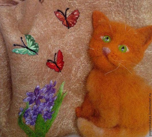 """Женские сумки ручной работы. Ярмарка Мастеров - ручная работа. Купить Сумка """"Рыжий кот"""". Handmade. Бежевый, аппликация из шерсти"""