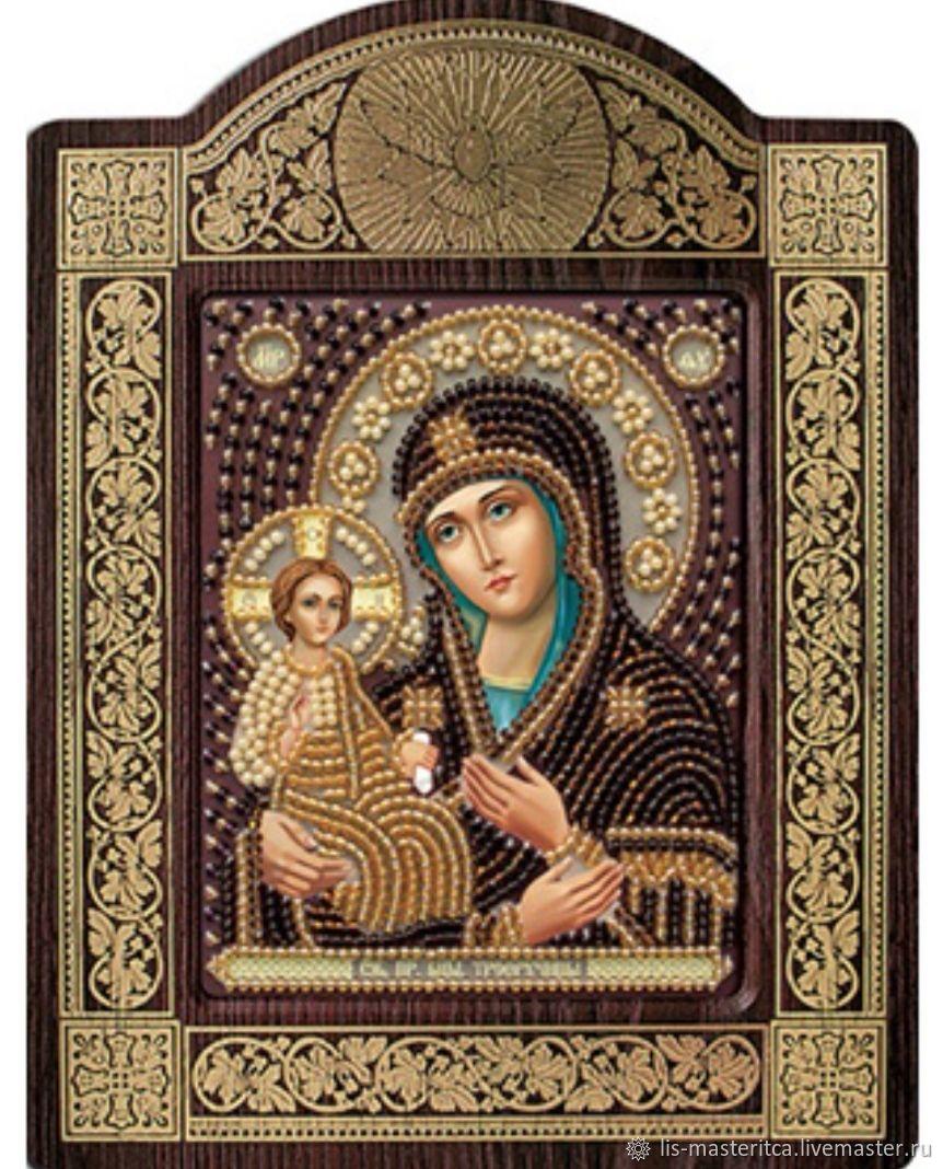 Икона вышитая бисером Богородица Троеручица, Иконы, Санкт-Петербург,  Фото №1